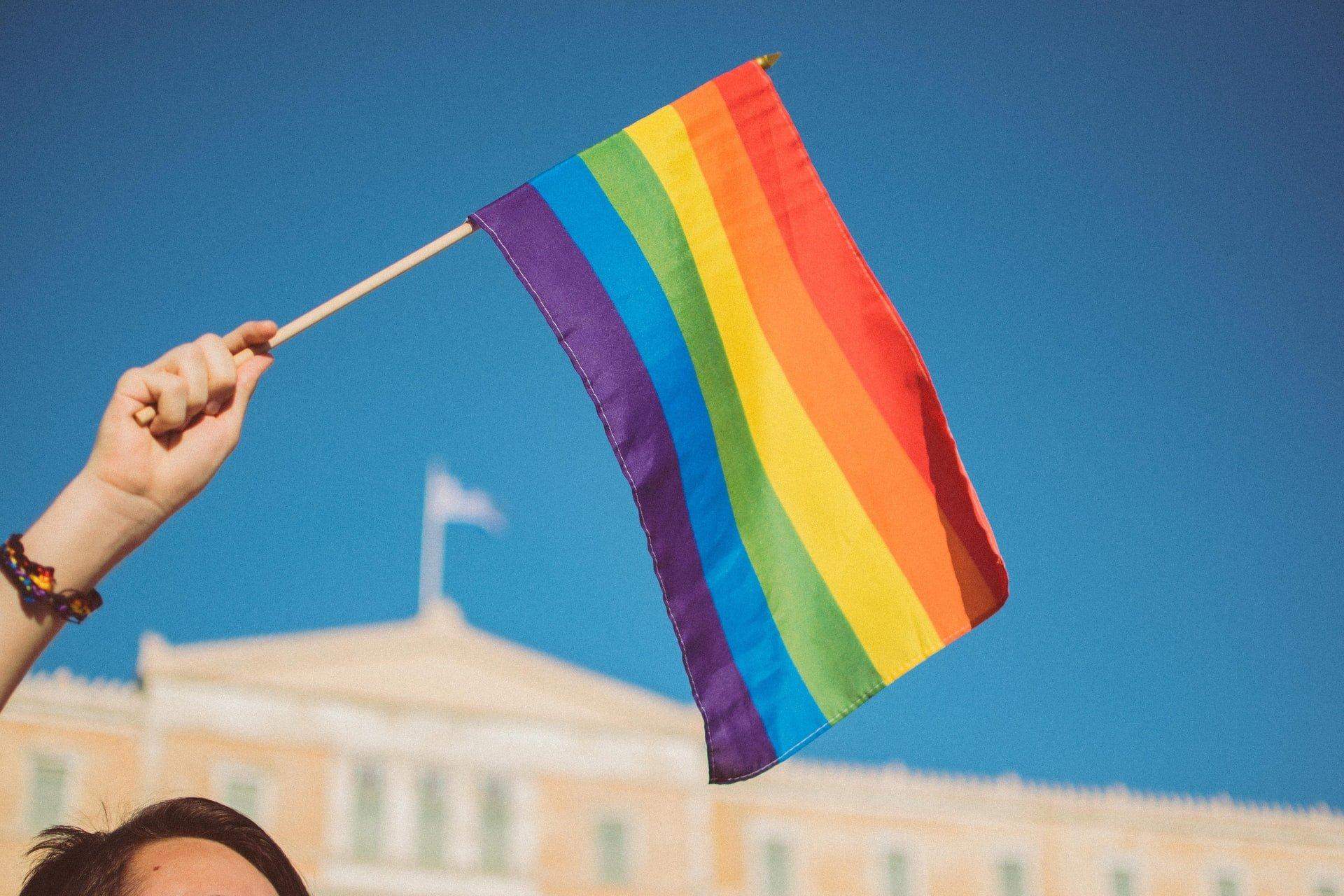 Rainbow flag in the air