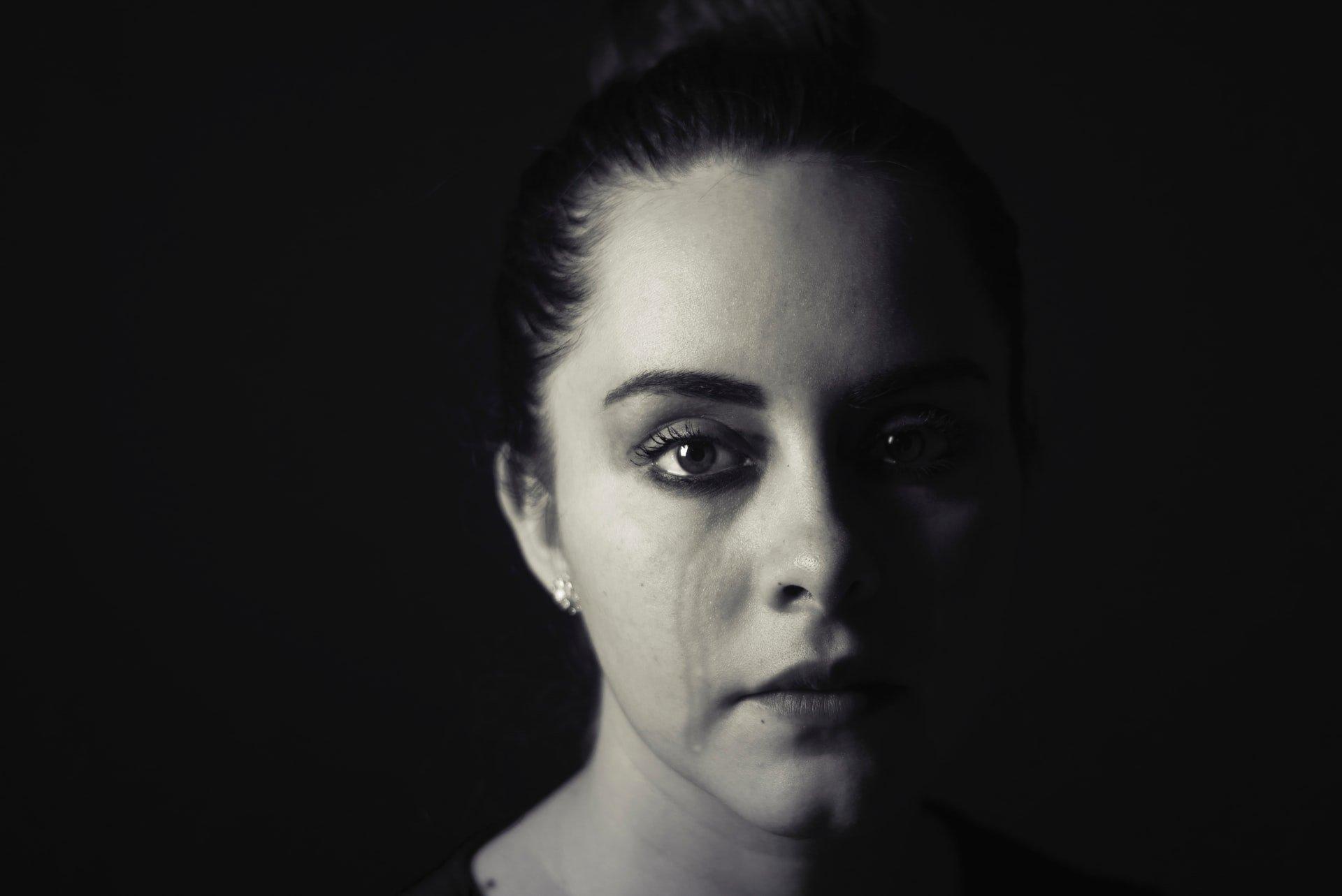 a teenage girl crying